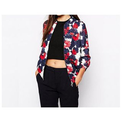 Richcoco - Rose Print Zip Chiffon Jacket