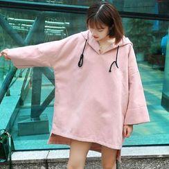 Clair Fashion - 韩版宽松纯色长袖连帽卫衣