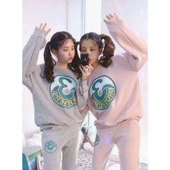 icecream12 - Set: Lettering Fleece-Lined Sweatshirt + Sweatpants