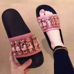 Micha - Rhinestone Slide Sandals