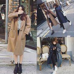 Clair Fashion - 秋装新款韩范长款西装领呢子外套