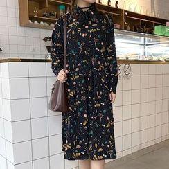 Cloud Nine - Print Long-Sleeve Chiffon Dress