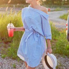 MayFair - Boatneck Collared Mini Shirtdress
