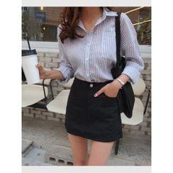 hellopeco - Tab-Sleeve Striped Shirt