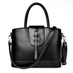 LineShow - Faux-Leather Push-Lock Shoulder Bag