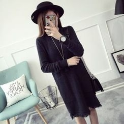 Qimi - Fringed Hem Long Sleeve Knit Dress