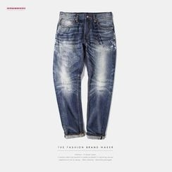 Newin - Distressed Washed Slim-Fit Jeans