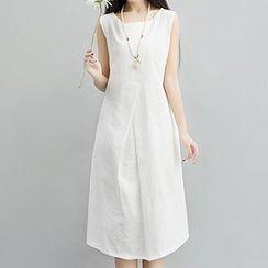 Fashion Street - Sleeveless Tie Waist Midi Dress