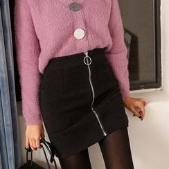 PPGIRL - Zip-Front Textured Skirt