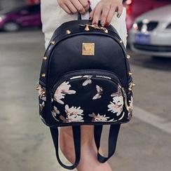 I.O.U - Studded Print Faux Leather Backpack