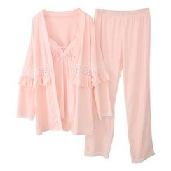 Snorie - Lounge Wear Set: Lace Strappy Top + Pants + Cover
