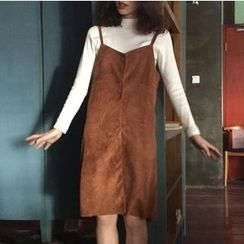 MATO - Set: Long Sleeve Mock Neck T-Shirt + Faux Suede Pinafore Dress