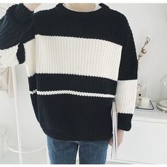 Bestrooy - Color Block Chunky Sweater