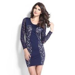 Dear Lover - Long-Sleeve Lace Panel Sheath Dress