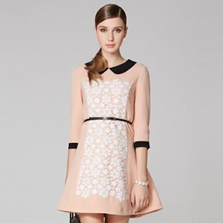 O.SA - Peter Pan-Collar Crocheted-Overlay Dress