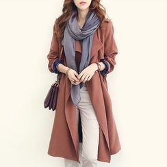 NANING9 - Epaulet Flap-Front Trench Coat