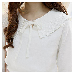 Sechuna - Tie-Front Lace-Trim Top
