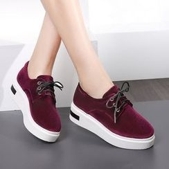 JY Shoes - Platform Velvet Sneakers