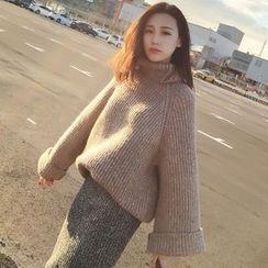 FR - Turtleneck Chunky Knit Long Sweater