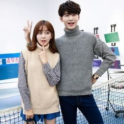 Je T'aime - Couple Matching Turtleneck Sleeveless Knit Top