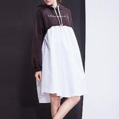 Halona - Mock Two-Piece Hooded Dress