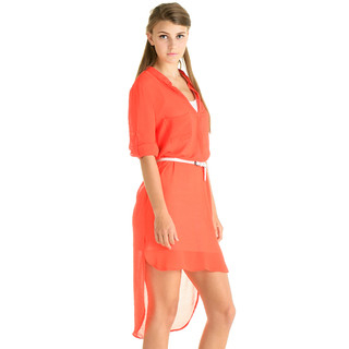 YesStyle Dress - Sheer Dip-Back Dress (Belt not Included)