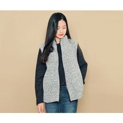 HOTPING - Zip-Up Boucle-Knit Vest