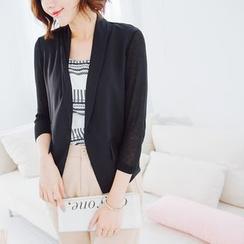 Tokyo Fashion - Chiffon Panel 3/4-Sleeve Blazer