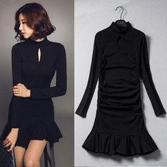 Clospace - Long-Sleeve Ruffle Sheath Dress
