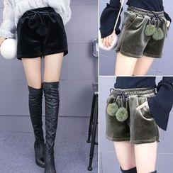 IndiGirl - Pompom-Accent Shorts
