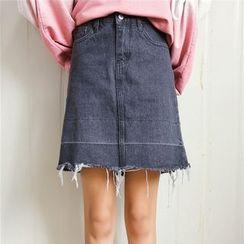 Windbird - Fringed A-line Denim Skirt