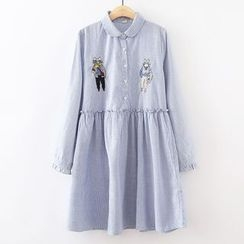 ninna nanna - Cat Embroidered Striped Long Sleeve Collared Dress