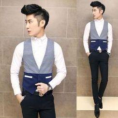 Fisen - Striped Panel Vest