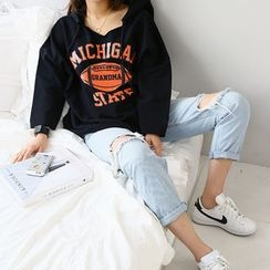 NANING9 - Lettering Printed Hooded Pullover