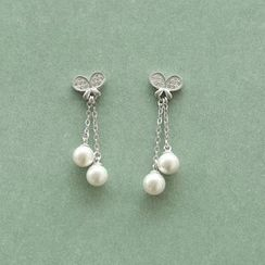 Love Generation - Butterfly Faux Pearl Sterling Silver Earrings
