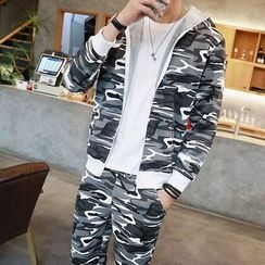 Bay Go Mall - Set: Camo Print Hooded Jacket + Sweatpants