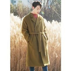 GERIO - Hidden-Button Long Coat with Sash