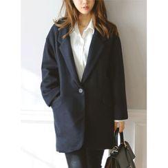 LOLOten - Wide-Lapel Wool Blend Coat