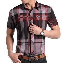 JIBOVILLE - Short-Sleeve Plaid Shirt