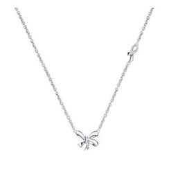 MaBelle - 925 Sterling Silver Love Bow Knot Diamond Solitaire Necklace (16') (0.005ct)