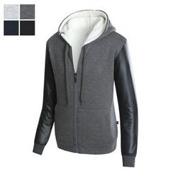 DANGOON - Faux-Leather Sleeve Fleece-Lined Hoodie