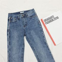 EEKO - Raw Hem Straight Cut Jeans