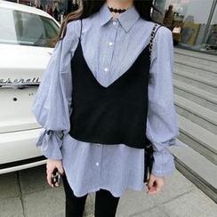 菲兒 - 套装: 宽松条纹衬衫 + 吊带上衣
