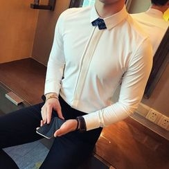 Orizzon - Long-Sleeve Plain Slim-Fit Shirt