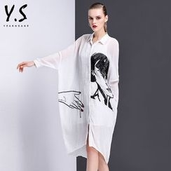 Y:Q - Printed Long-Sleeve Shirtdress