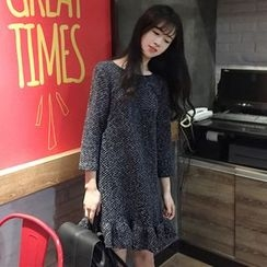 Bloombloom - Ruffle Hem 3/4 Sleeve Tweed Dress