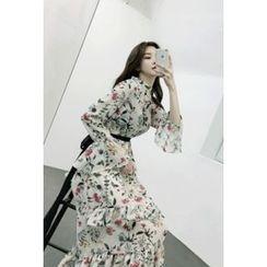 ATTYSTORY - Floral Patterned Ruffle-Trim Chiffon Long Dress with Sash