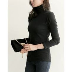 UPTOWNHOLIC - Turtle-Neck Ribbed Top