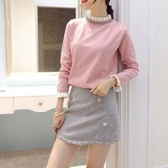 Romantica - Set: Embellished-Neckline Paneled Sweater + Beaded Rhinestone A-Line Skirt