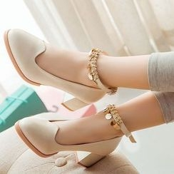 Freesia - Embellished Ankle Strap Pumps